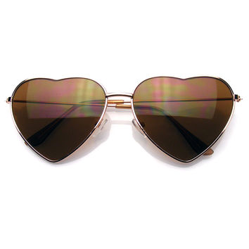 Metal Frame Heart Shape Sunglasses Cute Lovely Women's Sunglasses