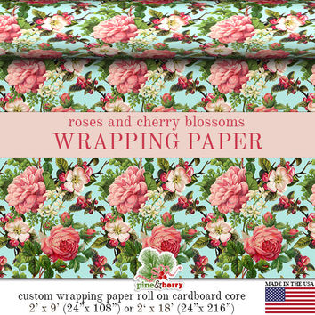 Roses And Cherry Blossoms Wrapping Paper | Victorian Roses Vintage Image Gift Wrap In Two Sizes Great For Any Occasion. Made In The USA