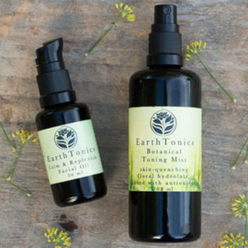 Lightweight Hydration Moisturizing Duo for Sensitive Skin - Botanical Toning Mist + Calm & Replenish Facial Oil