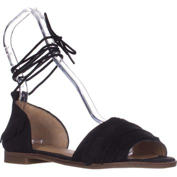 Lucky Gelso Tie Up Sandals, Black, 6.5 US / 36.5 EU