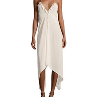 Ramy Brook Kym Plunging Asymmetric-Hem Coverup Dress with Tassels