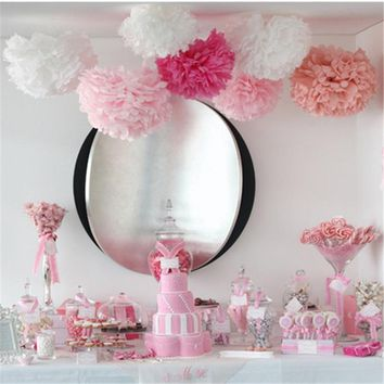 10Pcs/set 15cm Pom Pom Tissue Paper Flower Balls Wedding Birthday Party Xmas HomeDecoration