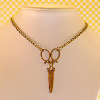 Bronze scissors pendant necklace with chain