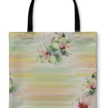Tote Bag, Pattern With Spring Flowers on Grunge Striped Colorful in Pastel Colors