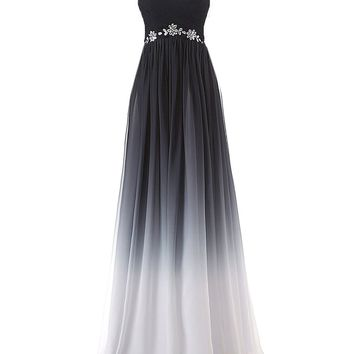 Topwedding Women's Gradient Color Chiffon Formal Evening Dress Long Prom Gown