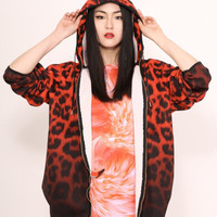 Katie Eary Black Fade Leopard Hooded Jacket - Red Leopard