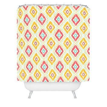 Jacqueline Maldonado Zig Zag Ikat White Shower Curtain