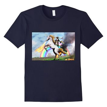 Cat Riding Fire Breathing Unicorn Meme T-Shirt