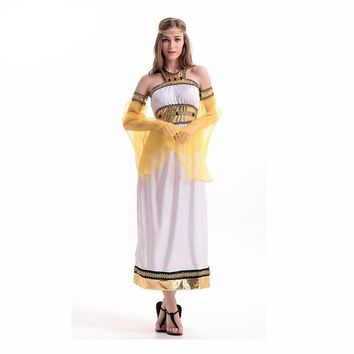 Rolecos Women Halloween Cosplay Egyptian Queen Cosplay Costume Greek Roman Goddess Costume Brand Retro Dress for Masquerade