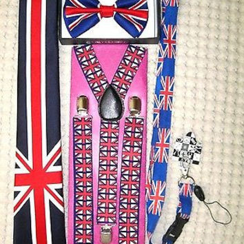 UK British Flag Y-Back Suspenders,UK Lanyard,UK Neck Tie & UK British Bow Tie-31