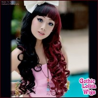 Long Curly Lolita - Black & Burgundy Split - Gothic Lolita Wigs Store