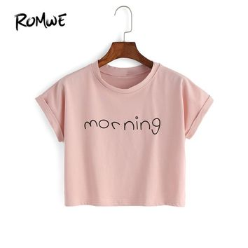ROMWE Womens Crop Tops Letter Print T-Shirts Summer Cute Fashion Pink Round Neck Short Sleeve Letter Print Crop T-shirt