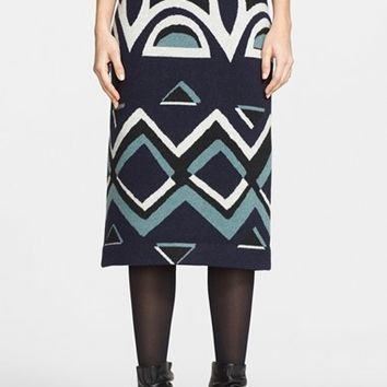 Women's Burberry Prorsum Geometric Floral Needle Punch Skirt