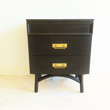 Vintage Modern Nightstand In Black Licorice