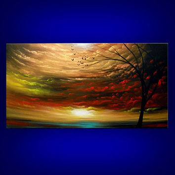 art painting original painting landscape tree painting metallic gold red cloud abstract sunset tree 48 x 24
