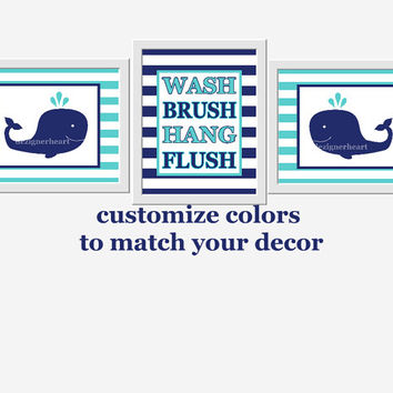 Kids Bathroom Wall Art Navy Blue Teal Whales Wash Brush Hang Flush Bathroom Rules Kids Bath Wall Decor Whale Bath Decor Under The Sea Bath