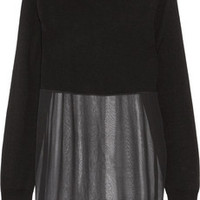 IRO Malaya paneled wool and silk-chiffon top – 50% at THE OUTNET.COM