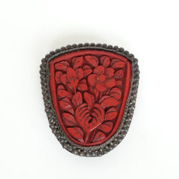 Antique Cinnabar Dress Clip Fur Clip Brooch Gold Over Copper Carved Red Laquer From China