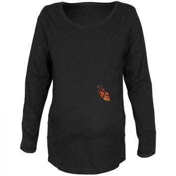 CREYCY8 Monarch Butterfly Wings Costume Black Maternity Long Sleeve T-Shirt