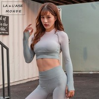 Long Sleeve Seamless Sport Top With Thumb Hole Sports Wear For Women Gym Yoga Top Fitness Shirt Crop Top Women Running Shirt