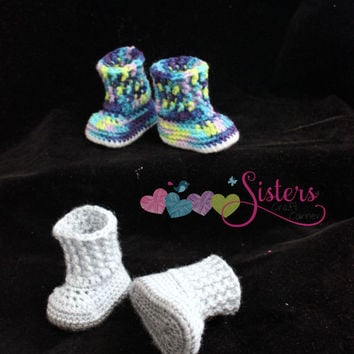 Crochet Baby Snuggly Boots Baby Booties, Crochet Boots, Baby, Baby Shower Gift