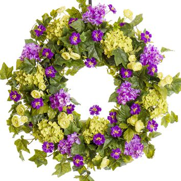 Lavender and Green Hydrangea with Cornflowers - Everyday Spring Wreath (SW027)