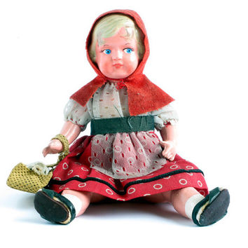Antique celluloid doll/ Little Red Riding Hood doll