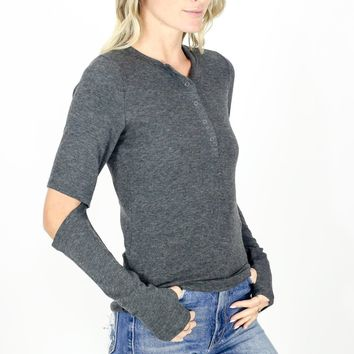 Elbow Cutout Thermal with Thumb Holes - Charcoal