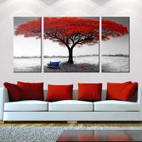 Large 3 piece Tree Painting, Tree oil painting, Modern Wall art, Canvas Wall Art, Canvas oil painting, Canvas Art, Hybrid Art Gallery, Art