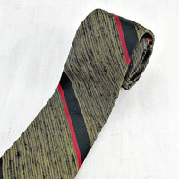 Vintage 50s 60s Skinny Tie, Designer Silk Tie, Gold Red Black Striped Tie, Mens Skinny Tie, Mid Century Modern, Gift for Him Men Boyfriend