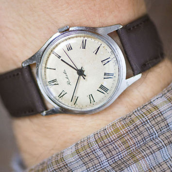 Vintage men's wrist watch Rocket, dress watch black white beige, gent's watch round, classy men's watch, vintage gift him, leather strap new