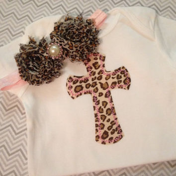 Cheetah Cross Baby Onesuit NEWBORN with headband