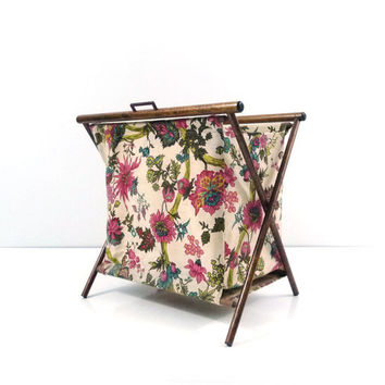 Folding sewing caddy, Tote, Knitting bag, Wood frame, Portable storage