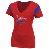 Majestic Philadelphia Phillies Ladies Infield Fly Fashion T-Shirt - Red