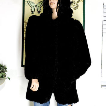 80s Jordache black faux fur coat / size S / black faux mink coat / vintage black fake fur coat / SunnyBohoVintage