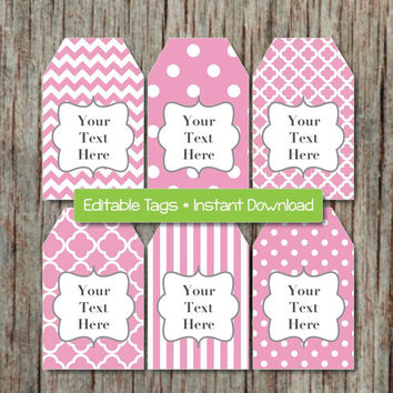 Editable Gift Tags Printable Digital Tags JPG File Gum Pink Grey INSTANT DOWNLOAD Digital Collage Baby Shower Birthday Party 006
