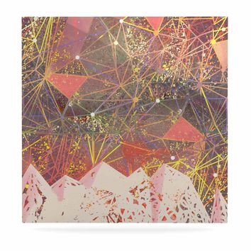"Marianna Tankelevich ""Pink Space Mountain"" Multicolor Coral Mixed Media Luxe Square Panel"