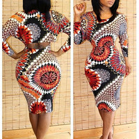 Floral Pattern Long Sleeve Cut-Out Back Bodycon Dress