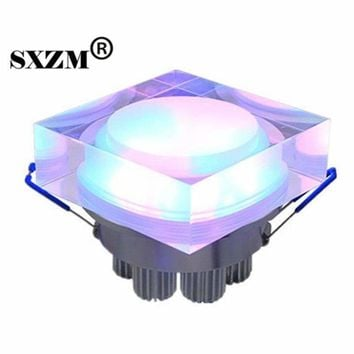 SXZM 2pcs x 6W crystal led  square spot downlight AC85-265V light fixture for home dec Acrylics Led Ceiling