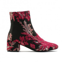 HANA EMBROIDERED ANKLE BOOTS IN PINK AND GOLD FLORAL