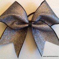 Grey Gun Metal Glitter on Black Cheer Bow Hair Bow Cheerleading