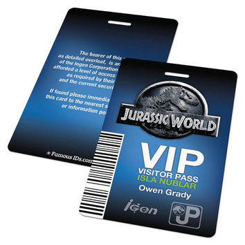 Jurassic World Custom Visitor Pass, Jurassic World Costume, Ingen, Jurassic World ACU, Jurassic World ID, ACU Patch, Movie Props
