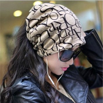 New Warm Women Hat Female Cap Hip-Hop English Letter Multi Purpose Baggy Hat Knitted Letter Beanies