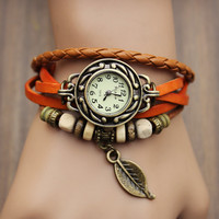 Handmade Vintage Leaf Wrap Watch For Her