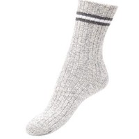 Grey Stripe Trim Boot Socks