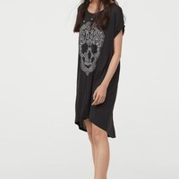 T-shirt Dress - Black/paisley motif - | H&M US