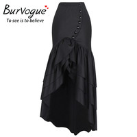 Burvogue 2017 Women Long Fashion Skirt Steampunk Gothic Style Skirts Sexy Slim Fishtail Corset Elastic Mermaid Maxi Skirts