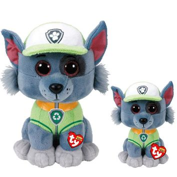 "Plush Dolls Ty Beanie Boos 6""/15cm & 10"" 25cm ROCKY the Patrol dog Stuffed Animal Collection Soft Big eyes Toys Gift"