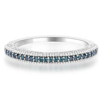0.65ct Fancy Blue & White Diamond Wedding Band Pave-Set Ring