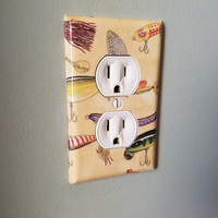 Fishing Lure Light Switch And Outlet Covers | Fishing Decor - Set of 4 - Outdoors - Fishing Pole - Fish Bate - Hunting - Tackle Box - Art